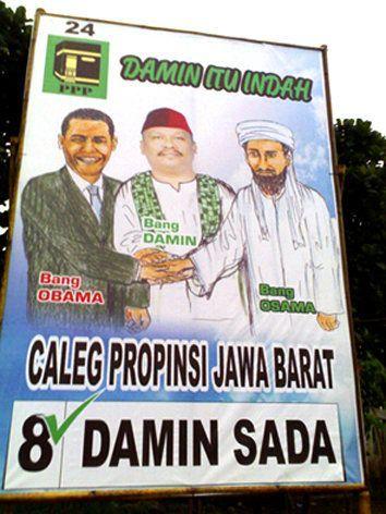 Caleg ini pasti canggih, bisa nemuin Obama sama Osama entah deh ada di mana!