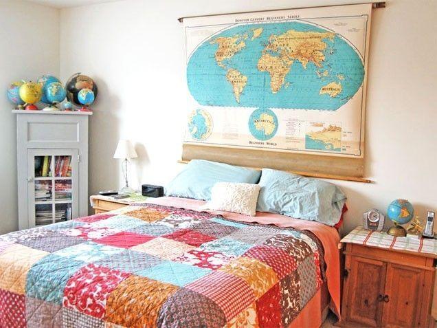 Peta dunia untuk kepala tempat tidur