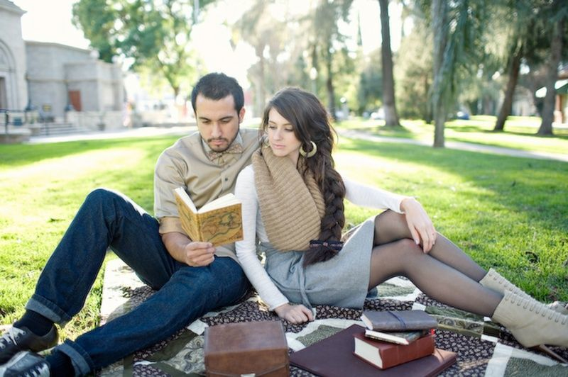 A couple and books