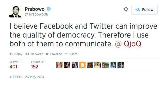 Salah satu kicau Prabowo
