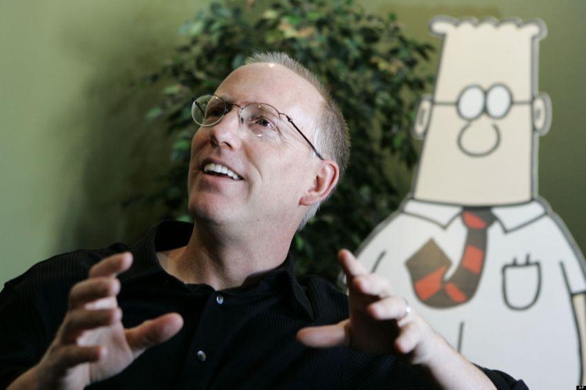 Scott Adams dan tokoh komik strip ciptaannya, Dilbert.