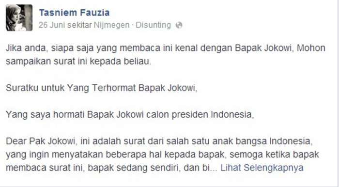 Surat terbuka dari putri Amien Rais ke Jokowi