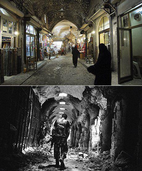 The Old Souq, Aleppo (2007 dan 2013). Corbis/Stanley Greene/Noor/Eyevine