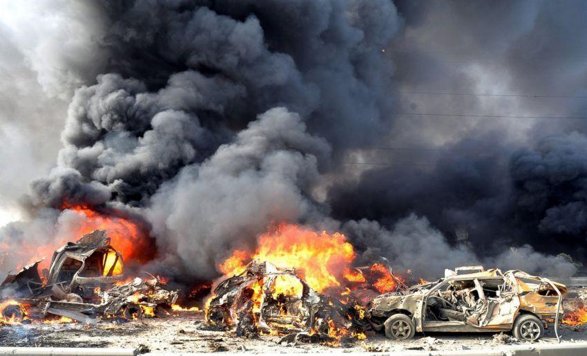 Ledakan bom ganda di Damaskus, 10 Mei 2012. Ledakan bom ini menewaskan 50 warga sipil. Foto: Kantor Berita Suriah SANA.