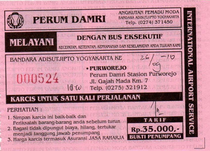 tiket bus Damri disimpen baik-baik