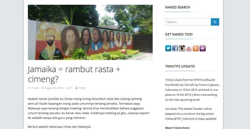 Konten blog Trinity tentang Jamaika