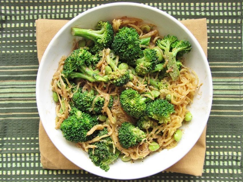 mie instan brokoli dan edamame