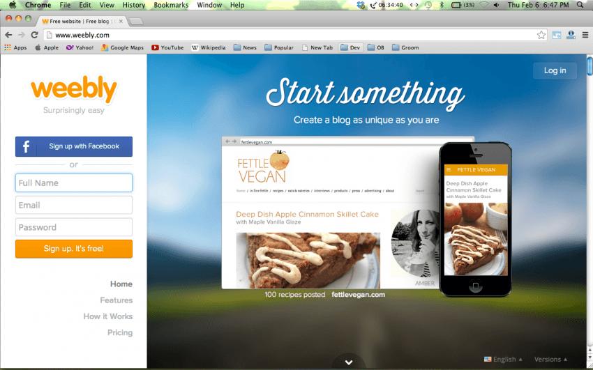 Weebly, salah satu penyedia hosting web