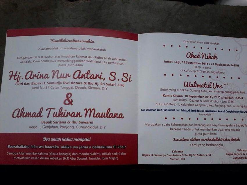 Undangan pernikahan Ustadz Maulana