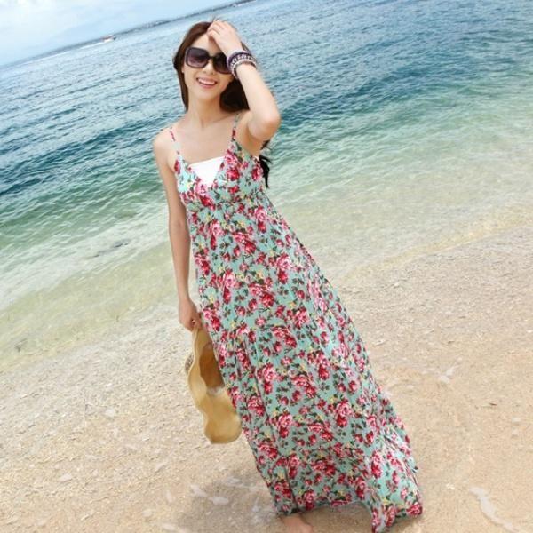 Ke pantai pakai long dress