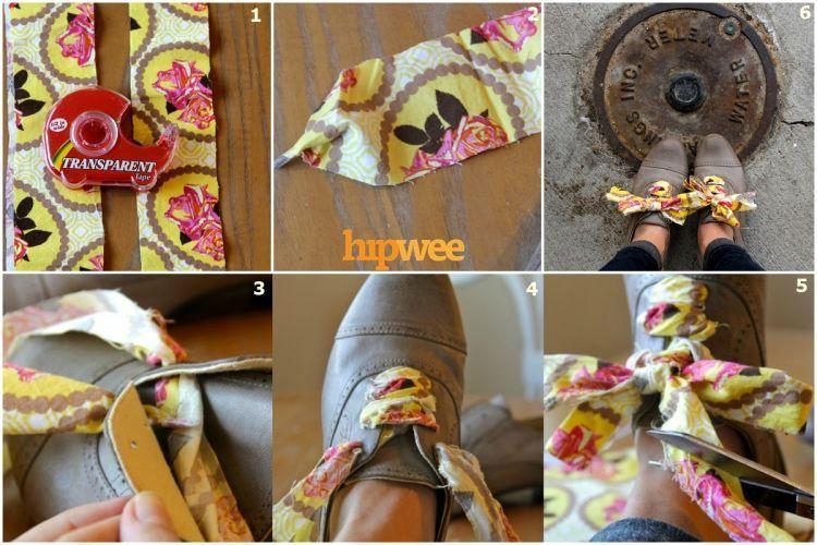 Pakai pita kain agar sepatumu lebih menarik