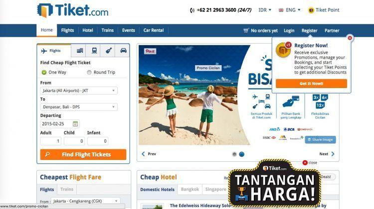 Tiket.com, menawarkan tantangan harga membandingkan harga yang lebih murah