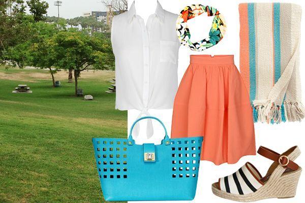 Gaya piknik yang cerah dan penuh warna