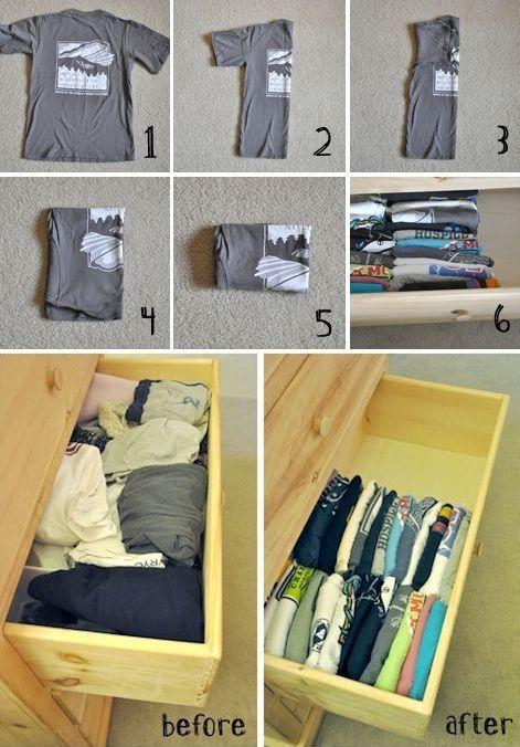 Cara yang tepat buat merapikan kaos di lemari