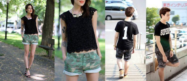 Celana pendek motif camo.