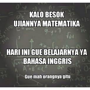 Kalau yang lain nawab matematika gitu-gitu aja, aku jawabnya pakai bahasa inggris. #guemahgituorangnya