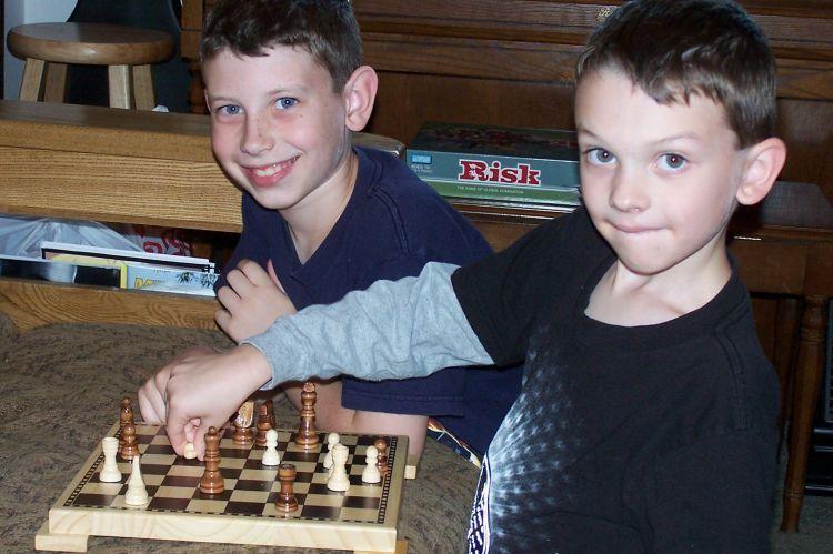Dayton and Simeon playing games