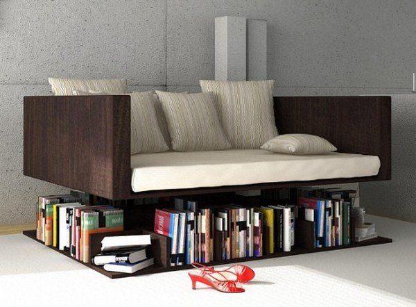 Gabungkan sofa dan rak bukumu