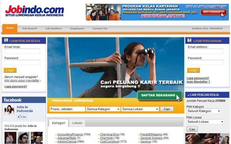 Mendaftar pekerjaan melalui situs