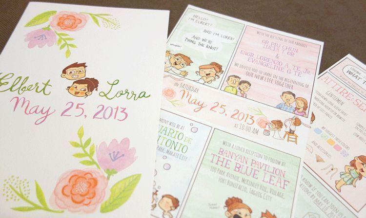 Desain undangan pernikahan sketsa yang unik