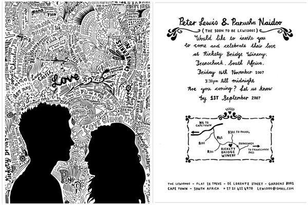 Desain undangan pernikahan dalam bentuk doodle