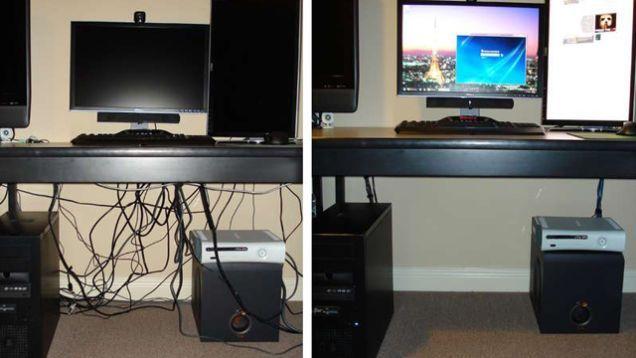 Penataan Kabel, terutama di meja komputer