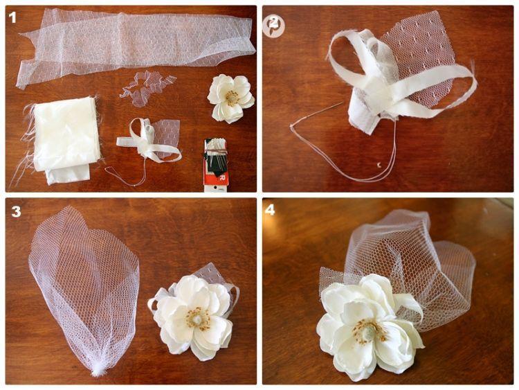 Cara membuat headband bridcage veil