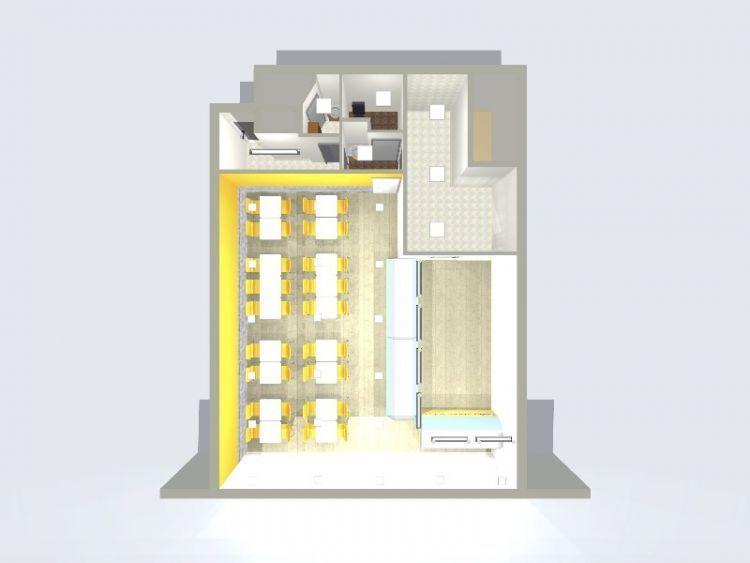 Desain 3D cafe atau restoran