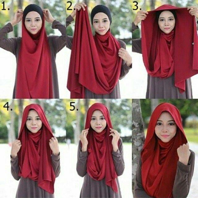 tutorial jilbab pashmina gampang