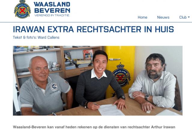 Arthur Irawan saat ini berkarir di Liga Belgia