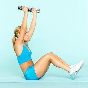 Knee up with overhead press
