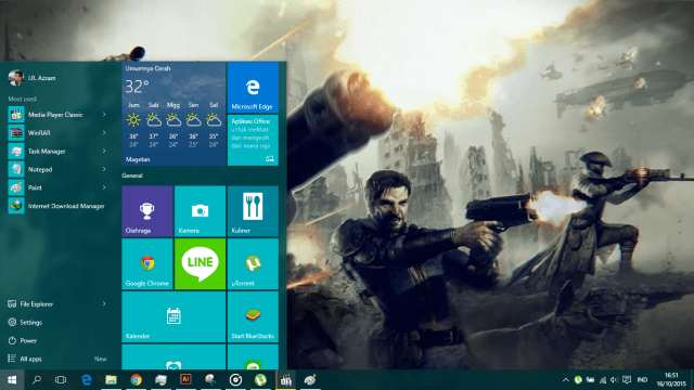tampilan start menu windows 10