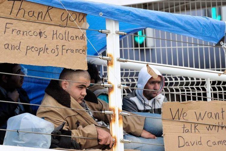 Pengungsi Suriah di kamp pengungsi Calais, Prancis.
