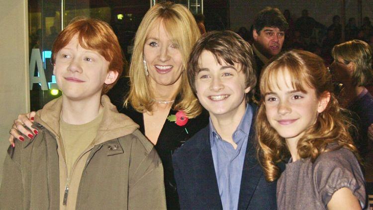 JK Rowling bersama pemain Harry Potter