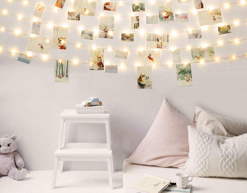 Dekorasi foto dinding dengan lampu tumblr