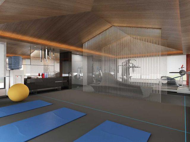Ruang gym yang luas untuk yoga karya Saka Design Lab //