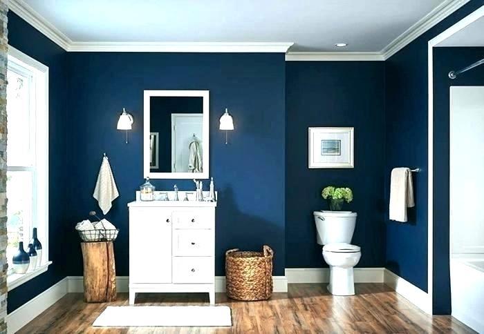 Desain interior kamar mandi warna biru tua