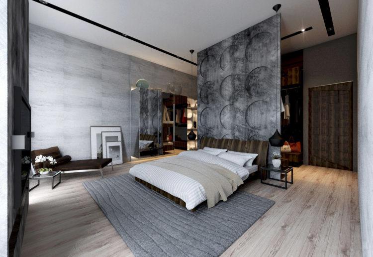 Kamar Tidur dengan Sisi Unfinished yang Menonjol