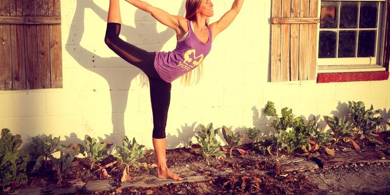 women doing yoga at garden