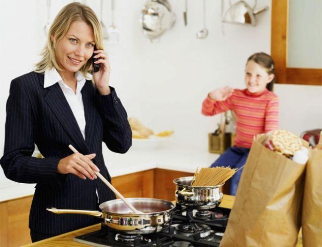 Mom Work in Kitchen