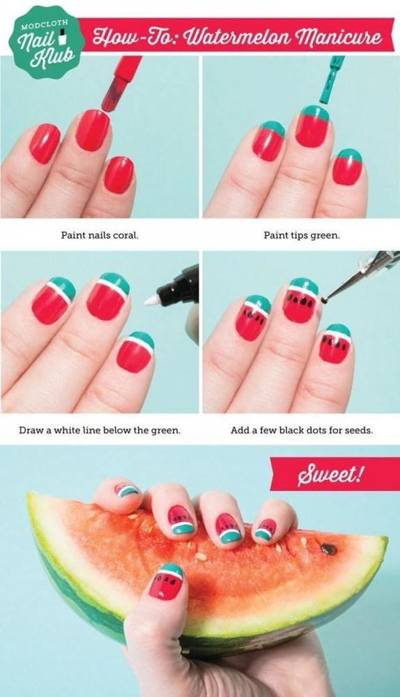 segarkan kukumu dengan desain semangka
