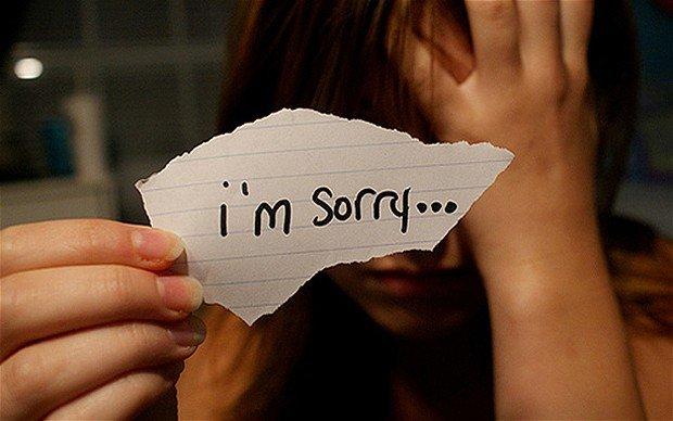 meminta maaf dengan rasa menyesal