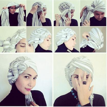 Kerudung segi empat juga bisa dibikin turban lho!