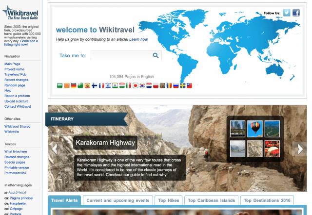 Homepage wikitravel