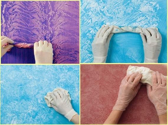 memperoleh tekstur tembok dengan kain