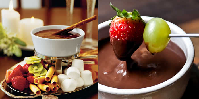 Fruit chocolate fondue