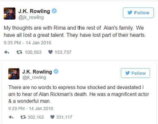 J.K. Rowling berduka juga