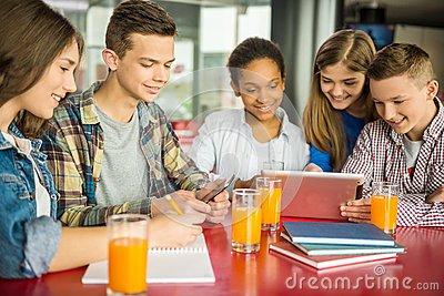 doing homework at canteen