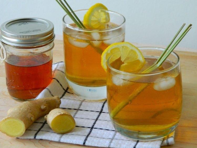 teh hitam + jahe + lemon