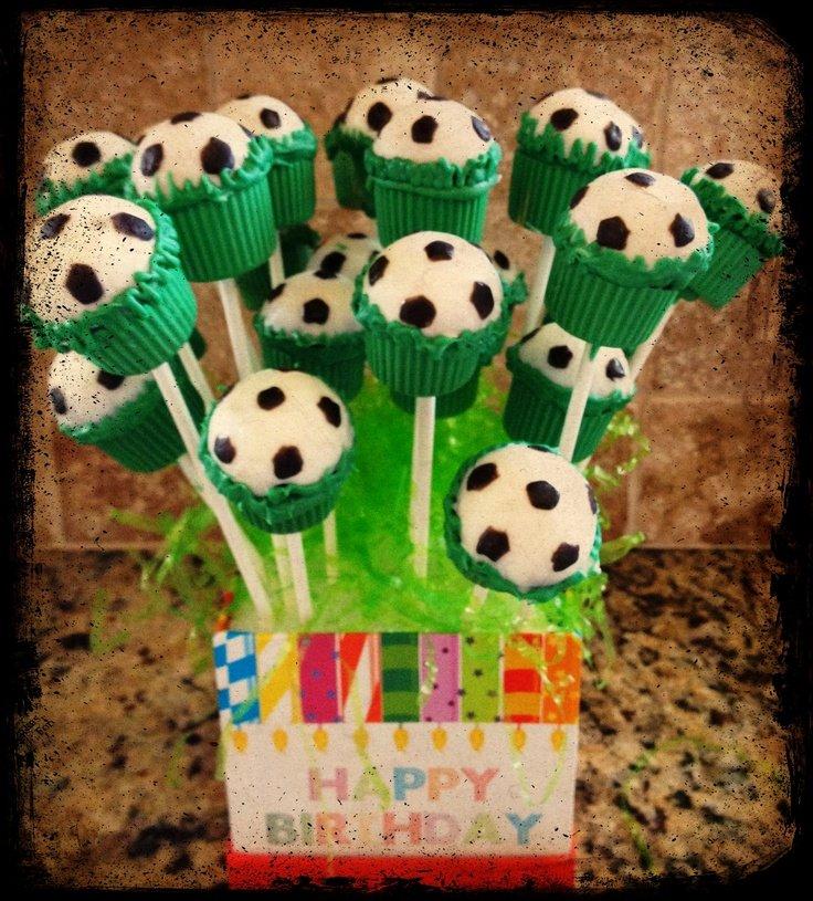 Soccer pop cake
